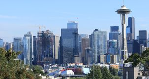 Seattle, Washington downtown on a nice day 4K. The Seattle, Washington downtown on a nice day 4K stock footage