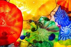 Seattle, Washington, EUA - 10 02 2018: Jardim de Chihuly e exposição de vidro Detalhes de venda florais fotografia de stock
