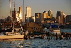 Seattle, Washington. Horizon au coucher du soleil Images libres de droits