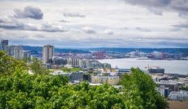Seattle Washington miasta linia horyzontu od Kerry parka Obrazy Stock