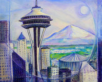 Seattle Washington Painting Stock Photos