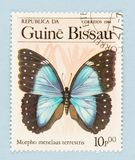 Guinea Bissau Postage Stamp with Blue Morpho Butterfly