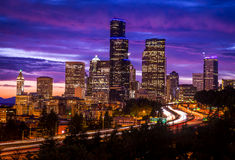 Seattle Washington skyline at dusk Stock Photo