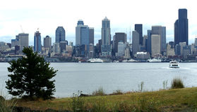 Seattle Washington skyline with ferries. Viewing Seattle skyline and ferry traffic from West Seattle Stock Photo