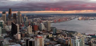 Seattle Washington Skyline and Puget Sound Stock Photography