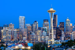 Seattle, Washington State. Downtown Seattle at twilight, Washington State stock photo