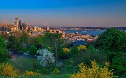 Seattle, Washington State. Spring morning from Kerry Park looking towards Seattle, WA Stock Photo