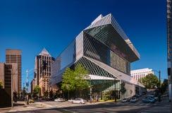 Seattle, Washington, U.S.A. - 5 agosto 2017: Biblioteca pubblica a Seattle fotografie stock