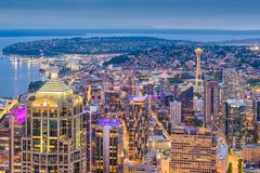 Seattle, Washington, USA Skyline. Seattle, Washington, USA downtown skyline from above at dusk royalty free stock photo