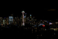 SEATTLE, WASHINGTON, USA - JAN 23rd, 2017: Night Cityscape of Seattle Skyline with Dark Sky Background for Building Stock Photography