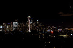 SEATTLE, WASHINGTON, USA - JAN 23rd, 2017: Night Cityscape of Seattle Skyline with Dark Sky Background for Building Royalty Free Stock Photography