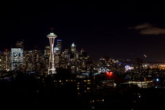 SEATTLE, WASHINGTON, USA - JAN 23rd, 2017: Night Cityscape of Seattle Skyline with Dark Sky Background for Building Stock Images