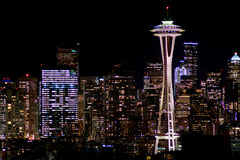 SEATTLE, WASHINGTON, USA - JAN 23rd, 2017: Night Cityscape of Seattle Skyline with Dark Sky Background for Building Royalty Free Stock Photos