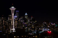SEATTLE, WASHINGTON, USA - JAN 23rd, 2017: Night Cityscape of Seattle Skyline with Dark Sky Background for Building Stock Image