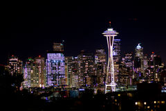 SEATTLE, WASHINGTON, USA - JAN 23rd, 2017: Night Cityscape of Seattle Skyline with Dark Sky Background for Building Stock Photos
