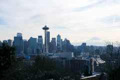 SEATTLE, WASHINGTON, USA - JAN 23rd, 2017: Seattle skyline panorama seen from Kerry Park during the morning light with Stock Photo