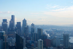 SEATTLE, WASHINGTON, USA - JAN 23rd, 2017: skyline of downtown Seattle, view from the top of the Space Needle during a Royalty Free Stock Image