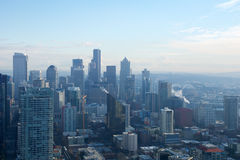 SEATTLE, WASHINGTON, USA - JAN 23rd, 2017: skyline of downtown Seattle, view from the top of the Space Needle during a Royalty Free Stock Images