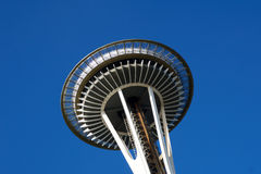 SEATTLE, WASHINGTON, USA - JAN 23rd, 2017: Space Needle against a blue sky clear day as viewed from the ground Royalty Free Stock Photo