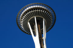 SEATTLE, WASHINGTON, USA - JAN 23rd, 2017: Space Needle against a blue sky clear day as viewed from the ground Stock Photo