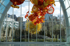 SEATTLE, WASHINGTON, USA - JAN 23rd, 2017: View of the Space Needle from inside the Chihuly Garden and Glass museum. SEATTLE-DEC 1,2014: View of the Space Needle stock image