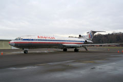 SEATTLE WASHINGTON, USA - JANUARI 27th, 2017: En American Airlines Boeing 727-200 MSN 21386, registrering N874AA som in byggs Royaltyfria Foton