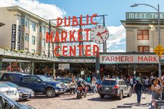 Pike Place Public Market Center in Seattle royalty free stock photography
