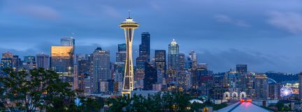 Seattle at Dusk. Seattle, Washington, USA - May 28, 2016: A panoramic dusk view of a cloudy spring evening at Seattle Downtown Stock Photo