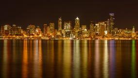 Night View of Seattle Skyline Stock Photo