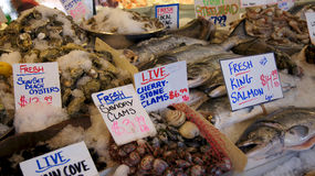 SEATTLE WASHINGTON USA - October 2014 - Fresh seafood display at Pike Place Public Market Stock Image
