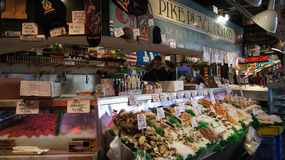 SEATTLE WASHINGTON USA - October 2014 - Fresh seafood display at Pike Place Public Market Stock Photos