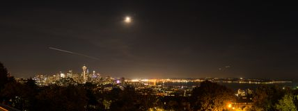 Panoramic night view of Elliott Bay and all of downtown Seattle stock photo