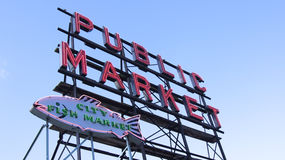 SEATTLE WASHINGTON USA - October 2014 - Public Market Center Sign, Pike Place stock image