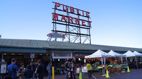 SEATTLE WASHINGTON USA - October 2014 - Public Market Center Sign, Pike Place Royalty Free Stock Photo
