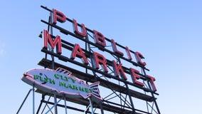 SEATTLE WASHINGTON USA - Oktober 2014 - allgemeiner Markt-Mitte-Zeichen, Pike-Platz Stockbild