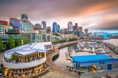 Seattle, Washington, USA Pier and Skyline. Seattle, Washington, USA downtown skyline over the pier at dusk royalty free stock photos
