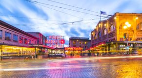 Seattle,Washington,usa. 02/06/17: Pike place market with reflect stock photos
