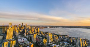 Seattle,Washington,usa,04/08/16: scenic view of down town of s. Eattle city at sunset Seattle,Washington,usa. for editorail use only stock photos