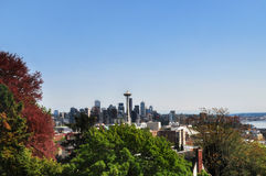 SEATTLE, WASHINGTON, WA, USA: A Panoramic View of Space Needle in Seattle. Seattle is a West Coast seaport city and the seat of King County. With an estimated Stock Photo