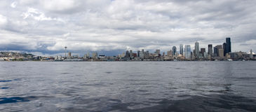 Seattle From The Water. The beautiful Seattle skyline as seen from a sailboat in the sound Royalty Free Stock Photography