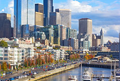 Seattle waterfront in autumn Stock Images
