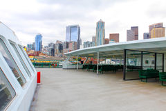 Seattle Waterfront City Skyline. Ferry terminal in Downtown. Stock Photos