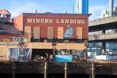 Seattle waterfront construction, Miners Landing Pier 56. A boarded up Miners Landing during Construction on the seattle waterfront, viaduct, seawall project at Stock Photo