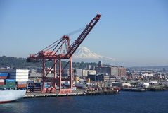 Seattle waterfront with Mt Rainier Stock Image