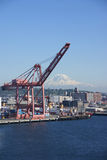 Seattle waterfront with Mt Rainier Stock Photos