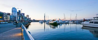Seattle waterfront near aquarium with marina and boats. Stock Image