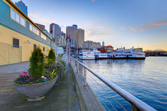Seattle waterfront near aquarium Royalty Free Stock Photo