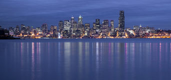 Elliott Bay Seattle Waterfront Night Panoramic  Royalty Free Stock Photography