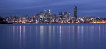Elliott Bay Seattle Waterfront Night Panoramic  Royalty Free Stock Photography