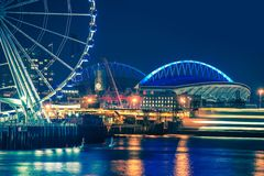 Seattle Waterfront at Night royalty free stock photography